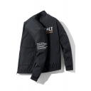 Mens Leisure INFL JENCE Letter Embroidery Long Sleeve Flap Pocket Elastic Hem Casual Sports Jacket