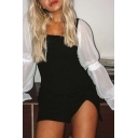 Womens Unique Color Block Mesh Puff Long Sleeve Square Neck Front Split Fitted Mini Party Dress
