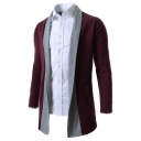 Mens Fashionable Long Sleeve Color Block Open-Front Tunic Cardigan Knit Coat