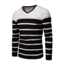 Mens Popular Black Stripe Printed V Neck Long Sleeve Slim Fit Pullover Sweater