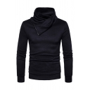 Unique Plain Heap Collar Zipper Patchwork Long Sleeve Slim Fit Casual Pullover Sweater