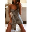Womens Casual Black and White Checked Printed Tied Waist Mini Fitted Strap Dress