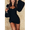 Womens Elegant Plain Black Square Neck Lantern Long Sleeve Mini Party Dress