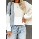 Unique Cut and Sew Colorblocked Lantern Long Sleeve Boat Neck Oversized T-Shirt