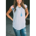 Womens Chic Floral Printed Short Sleeve Round Neck Casual Loose Gray T-Shirt