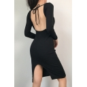 Womens Classic Black Plain Tied Open Front Long Sleeve Back Split Midi Party Dress