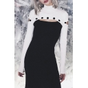 Womens Chic Black and White Cutout Long Sleeve Ribbed Knit Midi Fitted Party Dress