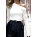Ladies Elegant Open Shoulder Long Sleeve Slim Fitted Solid Color White T-Shirt Top