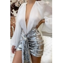 Womens Sexy Plunge V-Neck Lantern Long Sleeve Sequins Patchwork Mini Nightclub Dress
