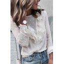 Solid Color Polka Dot Printed White Ruffle Embellished Keyhole Back Trumpet-Sleeve Blouse Top