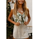 Green Leaf Printed V-Neck Bowknot Front Shirred Back Ruffles Hem Cami Tank