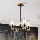 4 Lights Hanging Pendant Light Colonial Style Wine Cup Clear/Amber/Smoke Glass Ceiling Chandelier