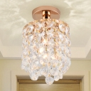 Cylinder Mini Semi Flush Ceiling Light Simplicity Crystal 1 Light Golden Corridor Flush Mount Ceiling Lamp
