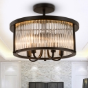Round Crystal Flushmount Lighting Contemporary 4 Lights Black Living Room Semi Flush Lamp
