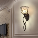 Bell Dining Room Wall Lighting Country Metal 1 Light Black Sconce with Opal Glass Shade