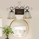 2-Light Vanity Lamp Traditional Tapered Frosted Glass Sconce Light Fixture in Beige