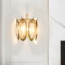 Metal Oval Shaped Wall Lamp Vintage Style 1 Light Gold Sconce Lighting Fixture with Clear Crystal Deco