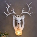 Vintage White/Brown Deer Sconce Light Fixture Resin 1 Light Living Room Wall Lamp with Crystal and Metal Dome Shade