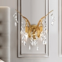 Gold Branch Sconce Light Postmodern 2 Lights Metal Wall Light Fixture with Crystal Drop