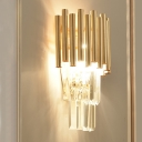 Postmodern Tiered Sconce Light Metal Tube and Crystal Block 4 Lights Bedroom Wall Lamp in Gold