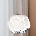 Contemporary Globe Hanging Light Fixture White and Clear Glass 1 Light Office Room Pendant Light
