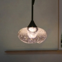 Oval Hanging Light Kit Modern Clear Seedy Glass 1 Light Brass Ceiling Pendant Light