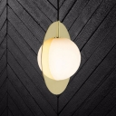 Orbit Hanging Light Kit Postmodern White Glass 1 Head Dining Room Pendant Light with Gold Metal Ring Design