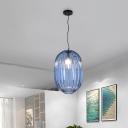 Lantern Pendant Light Vintage 1 Head Blue Prism Glass Suspension Light for Living Room