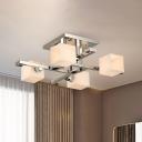 Nordic Style Cube Flush Ceiling Light White Glass 4/8 Lights Polished Chrome Flush Lighting