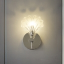 Shell-Shaped Clear Glass Sconce Light Fixture Contemporary 1 Light Wall Mount Lamp in Chrome Finish
