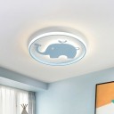 Ring Flush Lamp with Blue/Pink Horse/Elephant Design Metal Led Cartoon Ceiling Light for Children