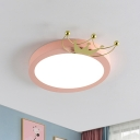 Nordic Drum Flushmount Lighting with Gold Crown 1 Head Led Blue/Pink Flush Light for Kids, Warm/White Light