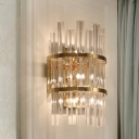 Prism Bedroom Wall Sconce Light Clear Crystal 3 Lights Contemporary Style Wall Lamp in Chrome/Gold Finish