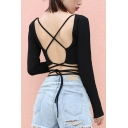 Cool Edgy Looks Long Sleeve Round Neck Hollow Out Tied Slim Black Crop T-Shirt for Ladies