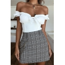 Edgy Looks Plain Puff Sleeve Off Shoulder Bow-Tie Ruched Slim Crop Top for Girls