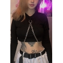 Punk Black Women's Cool Long Sleeve Crew Neck Chain Embellished Fitted Crop Tee