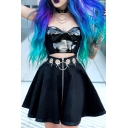 Women's Gothic Dark High Waisted Eyelet O-Ring Hollow Embellished Zip Front Pleated Flared A-Line Short Skirt in Black