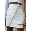Edgy Girls White High Waisted Zip Pocket Detail Leather Petite Mini Skirt for Club