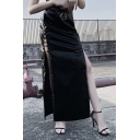 Stylish Dark Girls' High Waist Zipper Back O-Ring Embellished High Cut Hollow Out Black Leather Tight Long Party Skirt