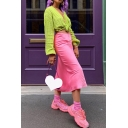 Trendy Ladies' High Waist Zip Side Split Long Satin Plain Fitted Fishtail Skirt for Club