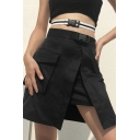 Casual Black High Waisted Buckle Belt High Slit Layer Pocket Fitted Short A-Line Wrap Skirt for Girls