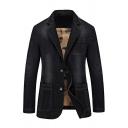 Mens Casual Notched Collar Long Sleeve Single Breasted Plain Skinny Denim Jacket Blazer