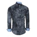 Mens Popular Gray Tie Dye Printed Long Sleeve Single Breasted Slim Fit Leisure Shirt