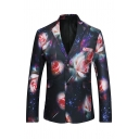 Hot Popular Flowers Printed Long Sleeve Double Buttons Black Leisure Blazer