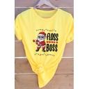 Fashionable Santa Claus FLOSS LIKE A BOSS Letter Short Sleeves Crew Neck Christmas T-Shirt