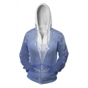 Unisex Fashionable Snowflake 3D Printed Long Sleeve Zip Placket Blue Cosplay Hoodie