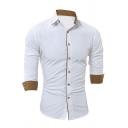 Mens Popular Contrast Trim Long Sleeve Turndown Collar Button Up White Shirt