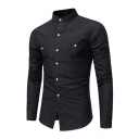 New Plain Long Sleeves Button Embellished Chest Pocket Fitted Shirt for Metrosexual Men