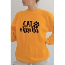 Lovely Heart Claw CAT MAMA Printed Long Sleeve Crew Neck Oversized Sweatshirt