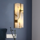 2-Light Flush Wall Sconce Colonial Living Room Wall Light Fixture with Rectangular Marble in Brass